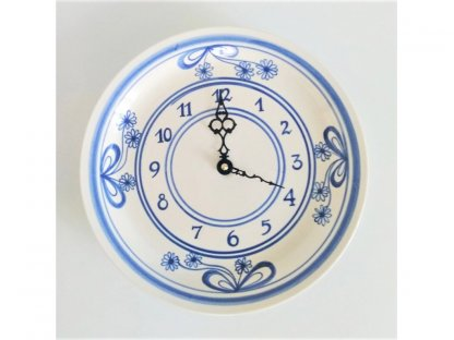 Keramické hodiny HR, průměr 26 cm - mašle z kytek