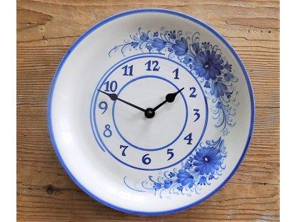 Keramické hodiny modré květy HR - průměr 26 cm - 3.