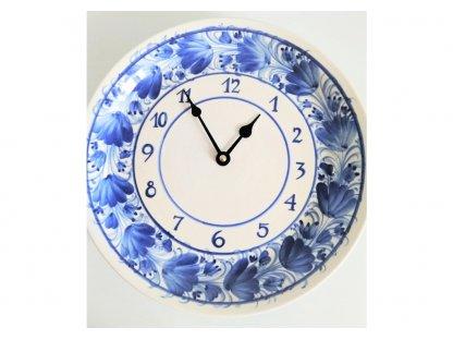 Keramické hodiny modré květy HR - průměr 26 cm - 4.