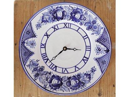 Keramické hodiny modro-bílé květy TU, průměr 28 cm