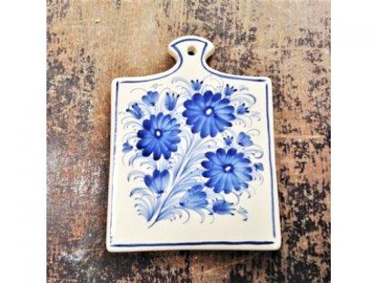 Keramické prkénko modré květy, 21x16 cm