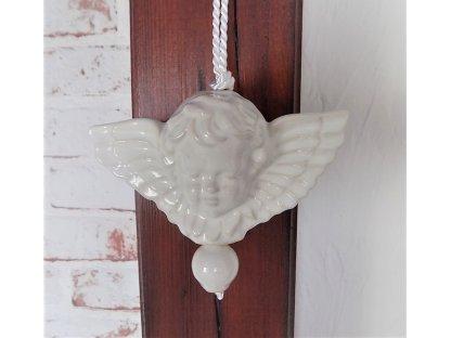 Keramický andílek na pověšení - ecru