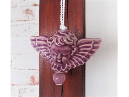 Keramický andílek na pověšení - lila