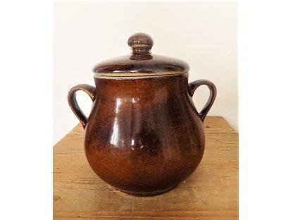 Keramický hrnec,  Sádlák č.2 objem 2,8 litrů - hnědý
