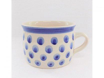 Keramický hrnek bílá s modrými puntíky - 0,35 l