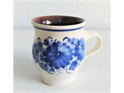 Keramický hrnek modré květy, baňatý 0,3
