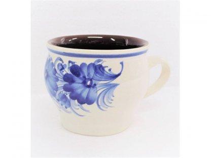 Keramický hrnek modré květy, baňatý, uvnitř hnědý 0,2 l