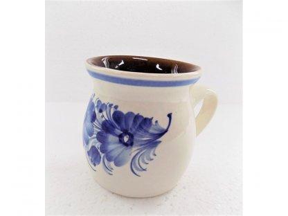 Keramický hrnek modré květy v. 9 cm
