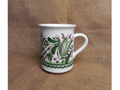 Keramický hrnek na kávu, zeleno-bílý