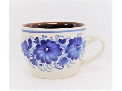 Keramický hrnek s modrými květy baňatý 0,3 l