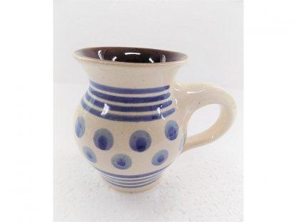 Keramický hrnek v. 10 cm modré puntíky