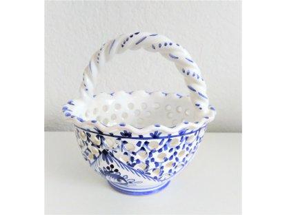 Keramický košík kulatý dekorativní, modro-bílá růže