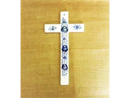 Keramický kříž, modro-bílý
