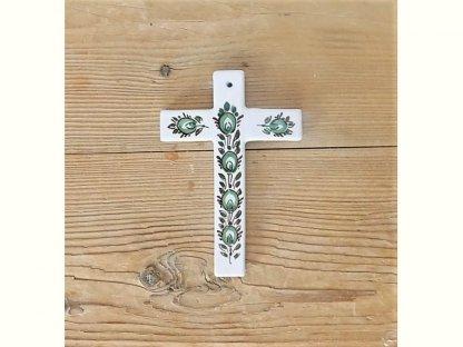 Keramický křížek, zelenobílý