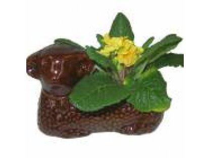 Keramický květináč beránek hnědý -délka 22 cm, šířka 12 cm, výška 12 cm