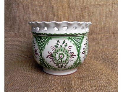Keramický obal na květináč, zeleno-bílý