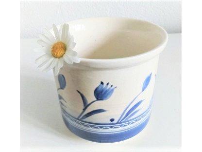 Keramický obal na květiny - květináč - modré tulipány