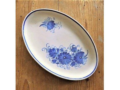 Keramický oválný talíř, dělené květy 1.