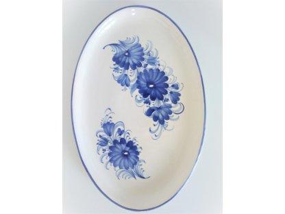 Keramický oválný talíř, dělené květy
