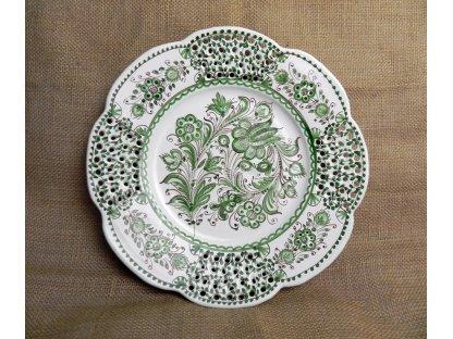Keramický řezaný talíř, zeleno-bílý