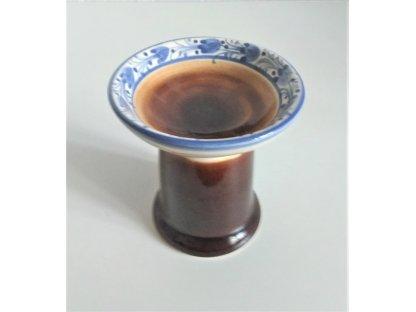 Keramický svícen hnědý malovaný