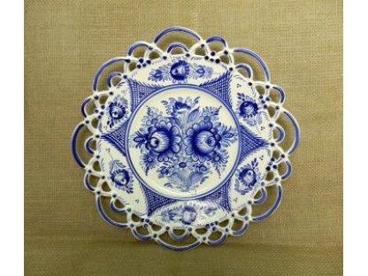 Keramický talíř modrobílý - dvě krajky