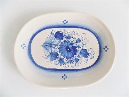 Keramický talíř ovál - čtyři tečky a květy