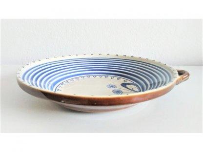 Keramický talíř s uchem - mašle a pruhy