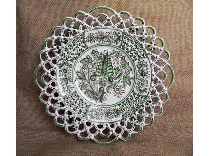 Keramický talíř tři krajky, zelenobílý