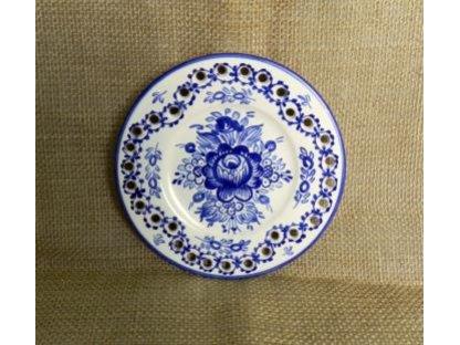 Keramický talířek dírkový modrý vzor - malý