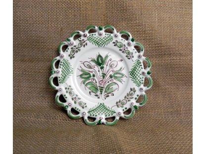 Keramický talířek s kraj, zeleno-bílý