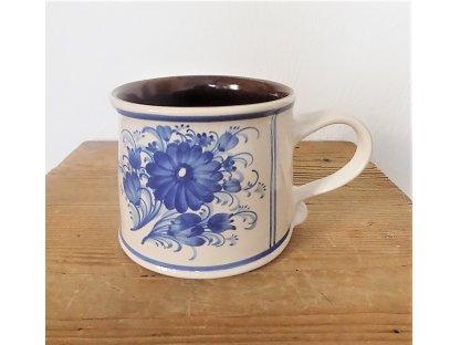 Keramický velký hrnek nebo květináč - modrý květ
