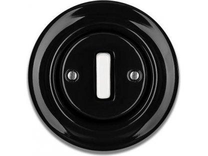 Keramický vypínač černobílý STIGMA jednoklapka - SLIM - 77