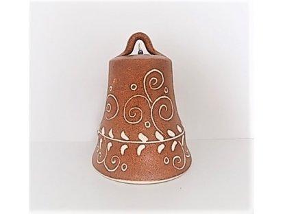 Keramický zvonek hnědý, vyřezávaný