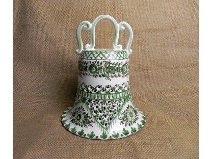 Keramický zvonek řezaný - zelený a bílý