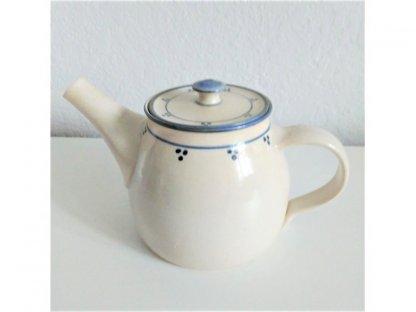 Konvička na čaj , modro-bílá kamenina - 0,9 l