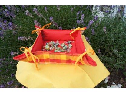 Košíček kanafas, na pečivo, Andrea 2, červená+žlutá kostka, 35x35/6 cm