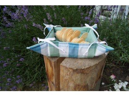 Košíček kanafas, na pečivo, Dora, modrá a bílá kostka, 35x35/6 cm