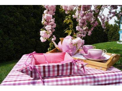 Košíček kanafas, na pečivo, Josefína K, růžová+lila, pruhy, 35x35/6 cm