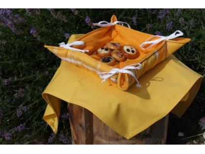Košíček kanafas, na pečivo, Laura oranžová s pruhy,  35x35/6 cm
