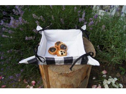 Košíček kanafas, na pečivo, Šimon K 3,5 bílá+černá, 35x35/6 cm