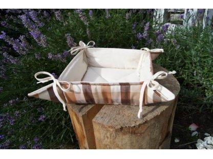 Košíček kanafas, na pečivo, Vanda 2, bílá+hnědá kostka, 35x35/6 cm