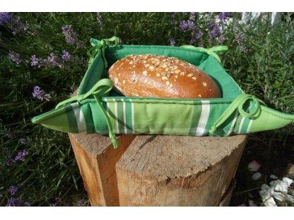 Košíček kanafas, na pečivo, zelený s pruhy, Zorina K, 35x35/6 cm