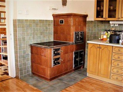 Kuchyňská kachlová kamna Jakub, hnědá