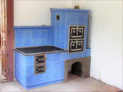 Kuchyňská kachlová kamna Jindra, modrá