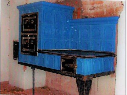 Kuchyňská kachlová kamna Miloš, modrá