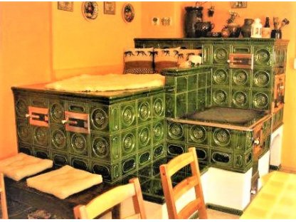 Kuchyňská kachlová kamna s ležením Adam, zelená
