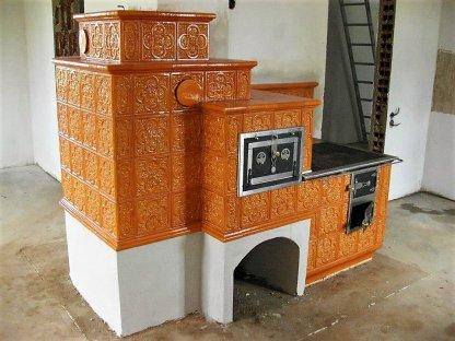 Kuchyňská kachlová kamna Standa, oranžová