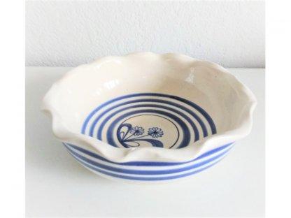 Miska bílá kruhy a květ, vlnitý okraj, průměr 21 cm