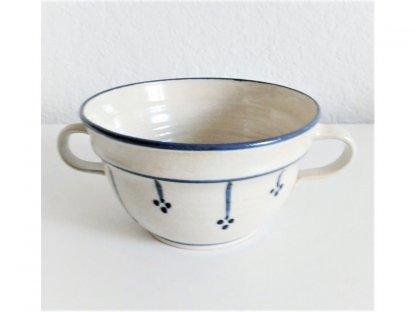 Miska s ouškama na polévku nebo guláš, modro-bílá kamenina 0,6 l